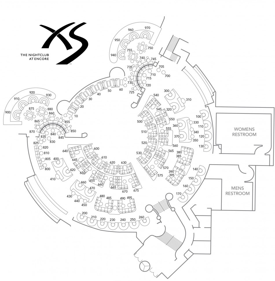 XS Nightclub Floor Plan