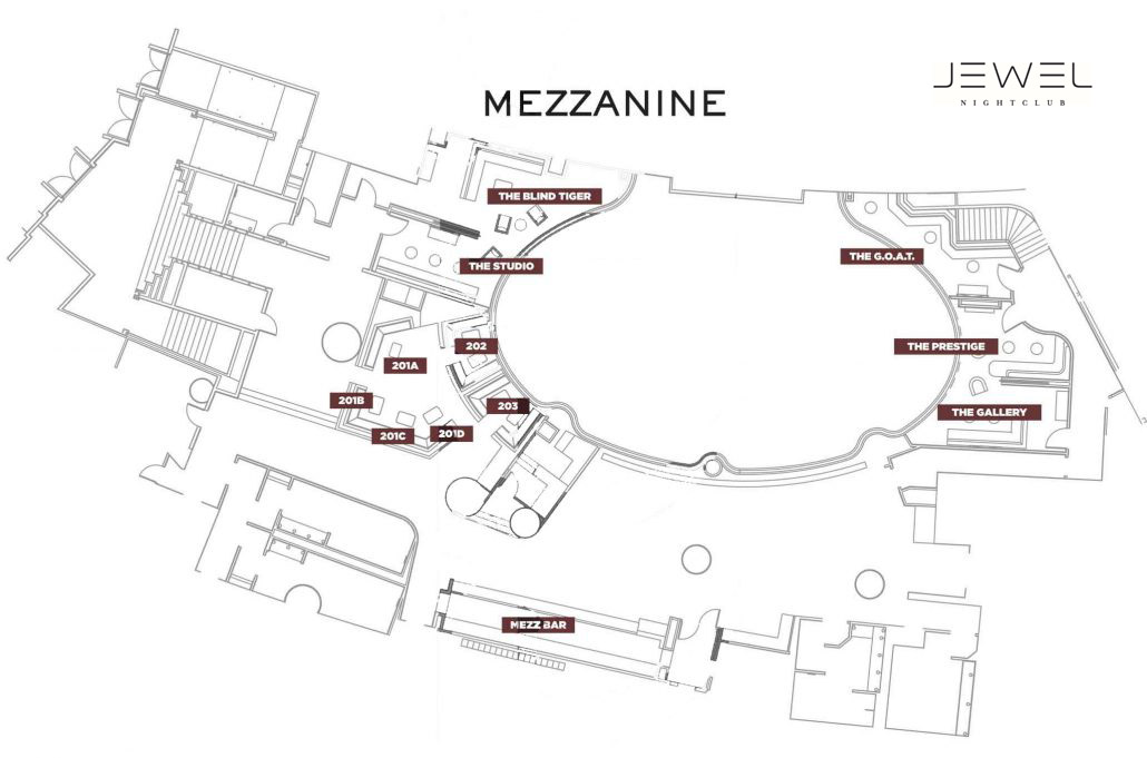 Jewel Nightclub Mezzanine Floor Plan