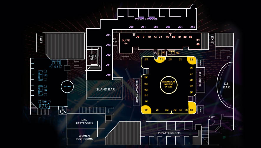 E11even Miami Larger Dance Floor Table Layout