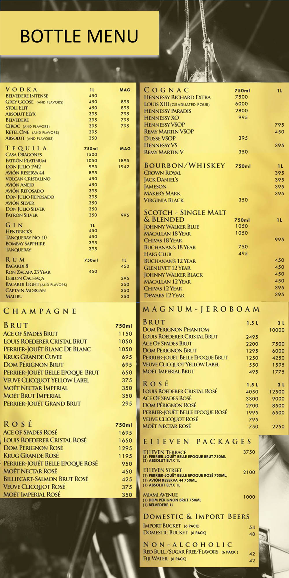 E11even Nightclub Menu