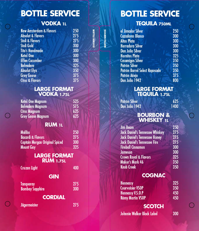 Flamingo Go Pool Bottle Service Menu 1