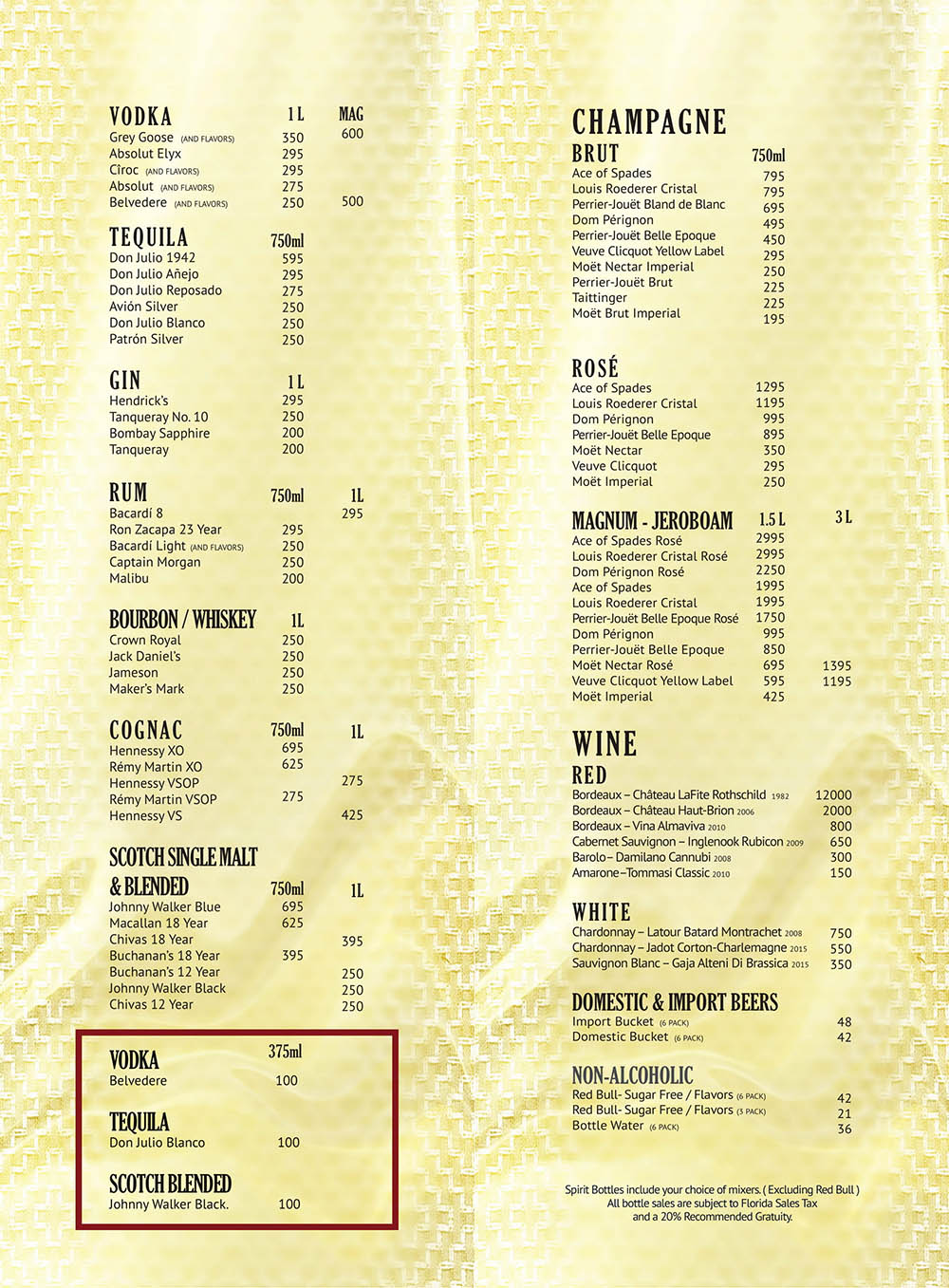 Gold Rush Miami Menu