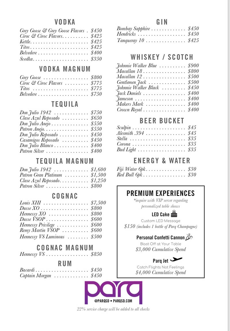 Parq Nightclub Bottle Menu 2